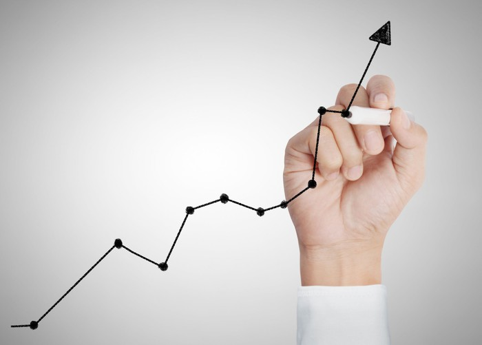 A hand draws a rising stock chart.