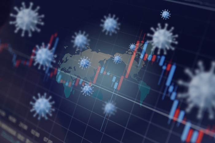 Virus cells in front of a world map and stock chart.
