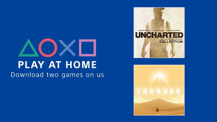 """Sony's PlayStation logo with the words """"play at home"""" and """"download two games on us"""" displayed."""