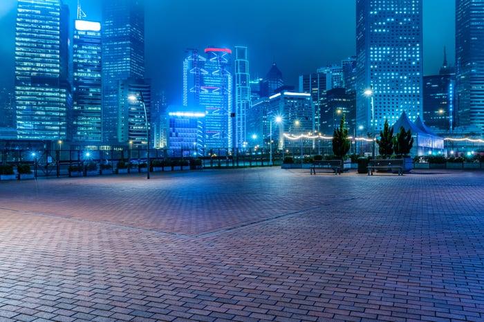 Deserted city at night