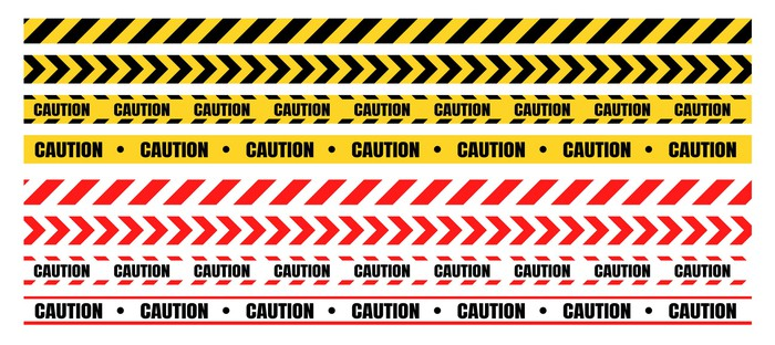 Various rows of caution tape