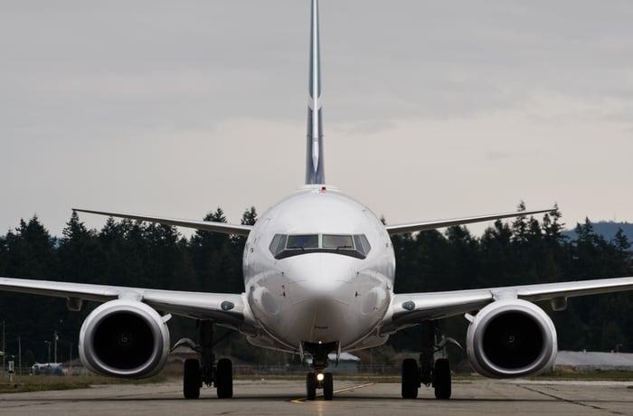 Boeing 737 on the ground.