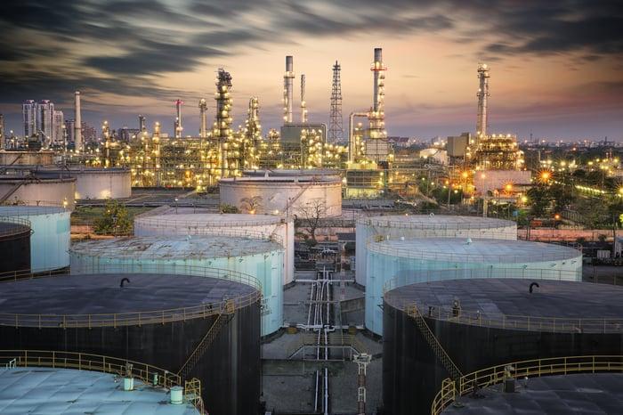 Petroleum storage tanks near a refinery.