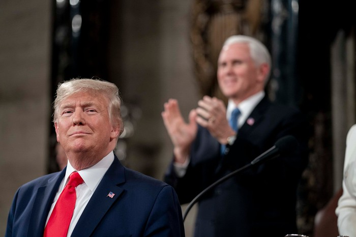 President Trump giving the State of the Union address.
