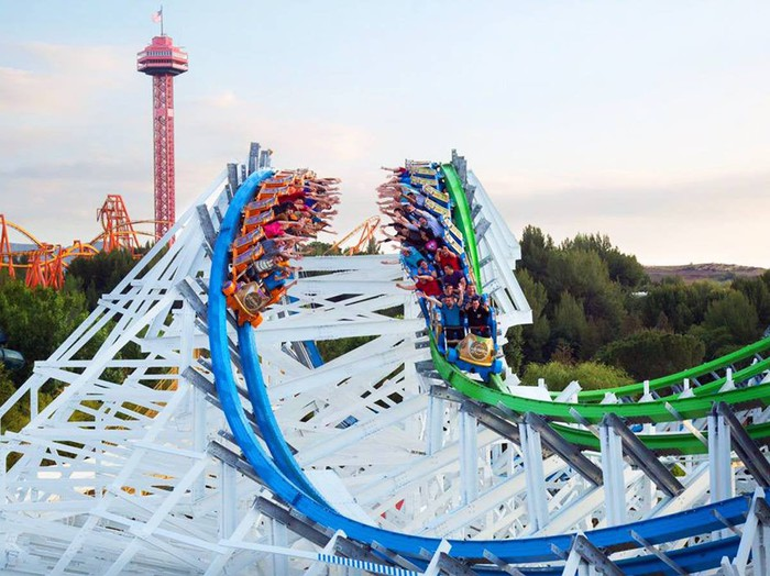 Riders on Twisted Colossus dueling coaster at Six Flags Magic Mountain.