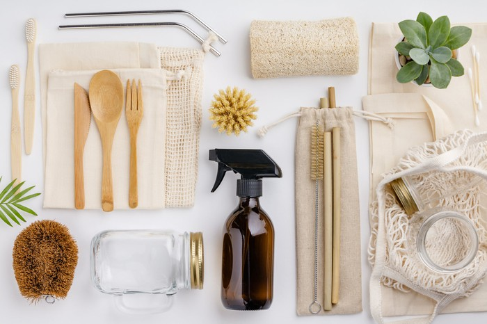 An overlay of kitchen utensils and cleaning supplies.