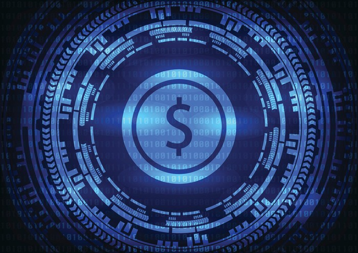 digital dollar sign surrounded by binary code -- cryptocurrency digital virtual currency bitcoin blockchain