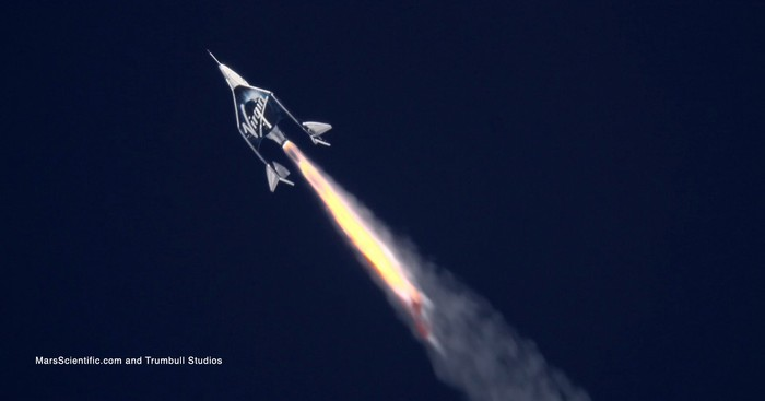Virgin Galactic SpaceShipTwo rocketing away from the viewer