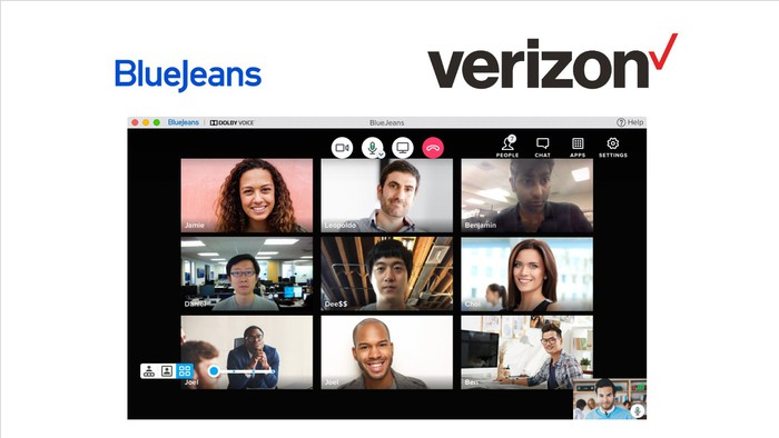 BlueJeans videoconferencing interface