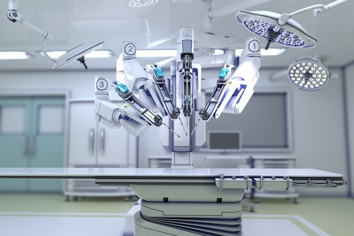 Robot-assisted surgery device.