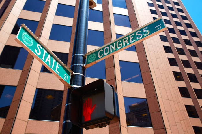 A sign post in Boston that marks the intersection of State Street and Congress Street