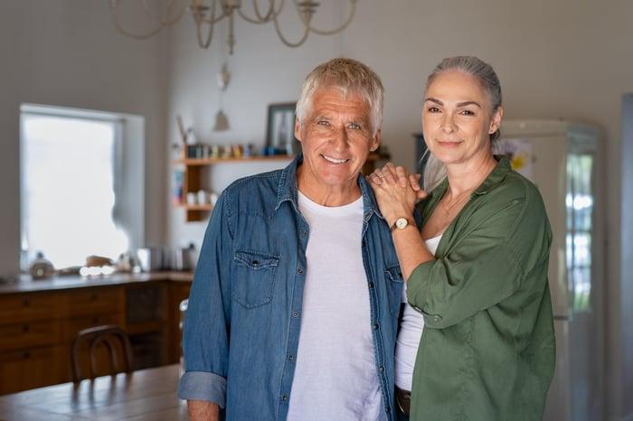 Smiling older couple