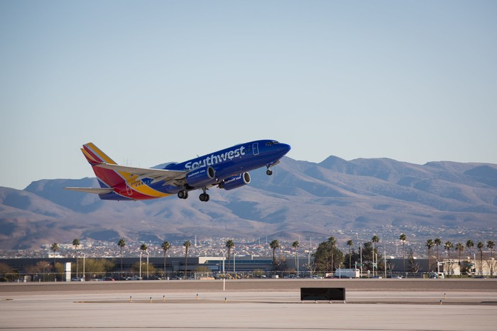 A Southwest plane takes off.