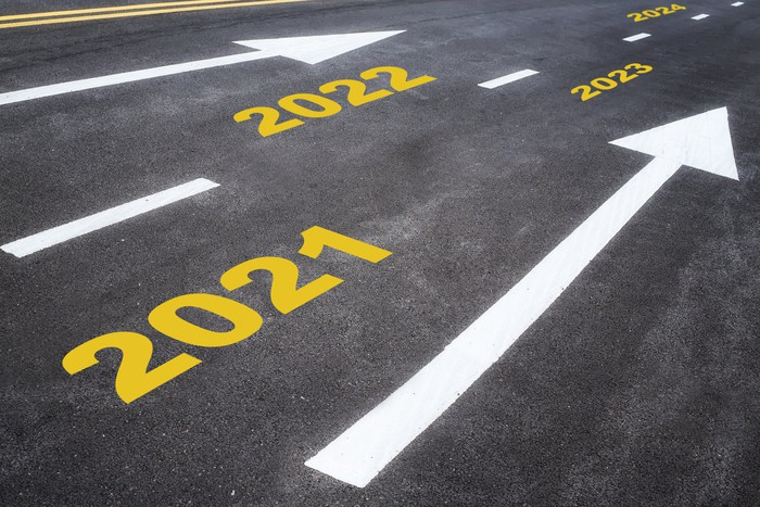 2021, 2022, 2023, 2024, and arrows painted on a road