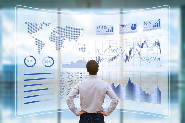 A man looking at a large board displaying various charts and graphs