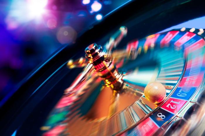 Spinning roulette wheel.