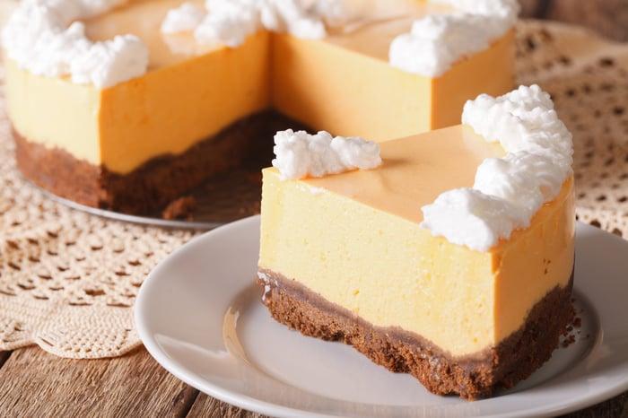 A slice of pumpkin cheesecake.