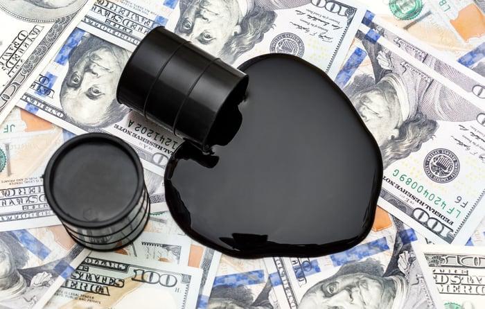 A barrel spilling oil on $100 bills.