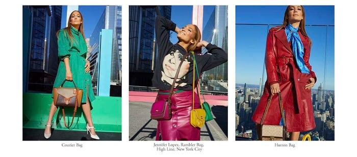 Jennifer Lopez modeling Tapestry handbags.