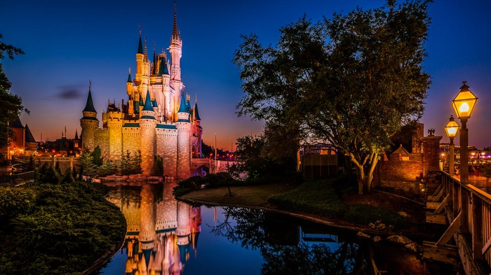 The Magic Kingdom castle with dusk setting in.