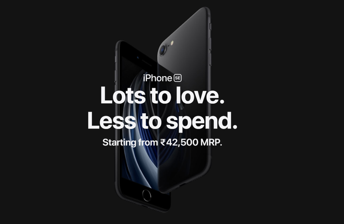 Banner showing new iPhone SE price in India