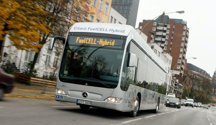 A Mercedes-Benz Citaro bus powered by a hydrogen fuel cell.