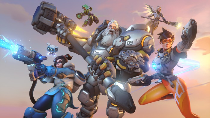 Graphic art of characters from multiplayer online first-person shooter game Overwatch 2.