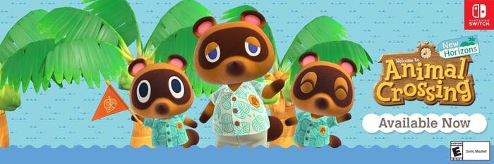 Animal Crossing banner ad featuring three bears.