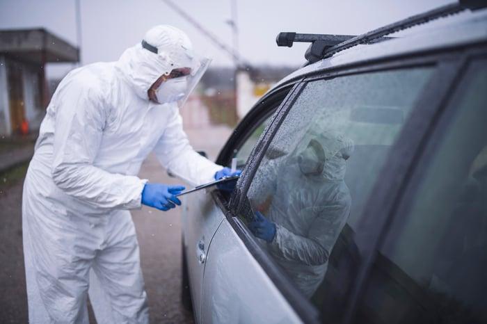 Coronavirus testing in a car