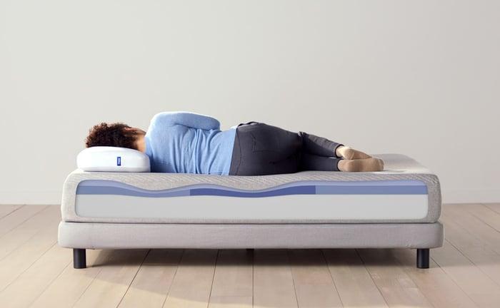 Woman resting on a Casper mattress.