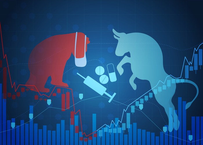 Graphic of bull versus bear with pills and syringe in between them with stock chart overlaid.