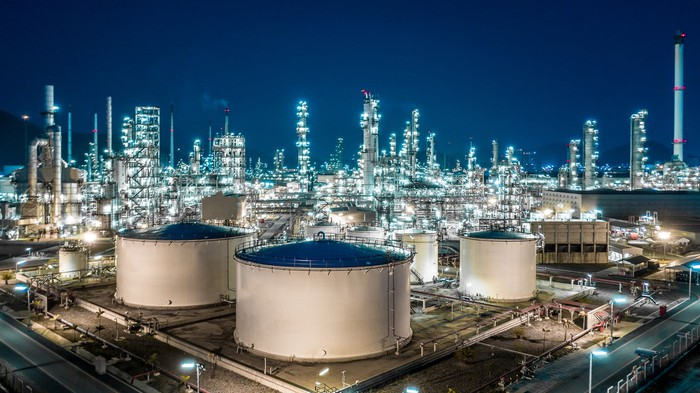 Oil storage at a refinery.