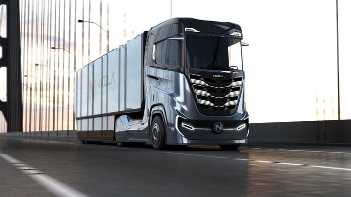 Nikola Tre truck driving down the road