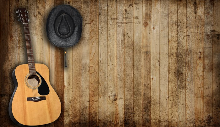 A cowboy hat and a guitar.