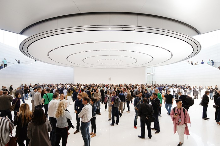 People gathered in Steve Jobs Theater