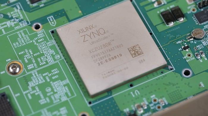 A Xilinx FPGA semiconductor.