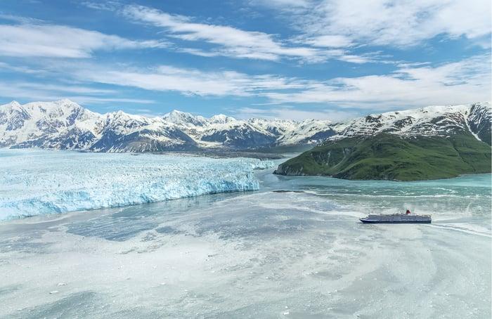 The Cunard ship Queen Elizabeth off Hubbard Glacier in Alaska.