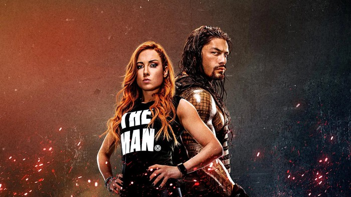 WWE wrestlers Becky Lynch and Roman Reigns.