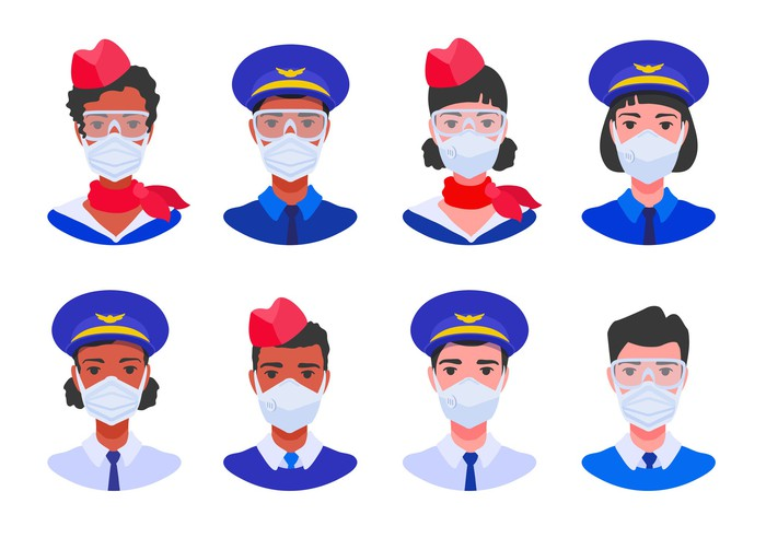 images of two rows of flight attendants wearing face coverings