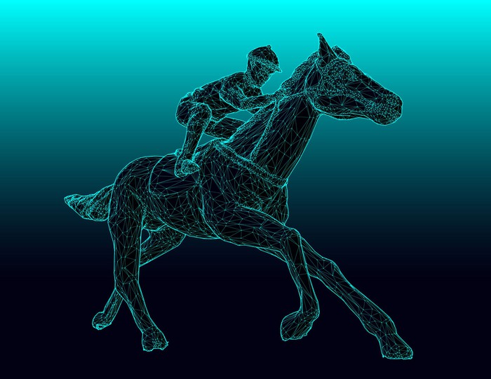 A wireframe digital drawing of a horse and jockey.