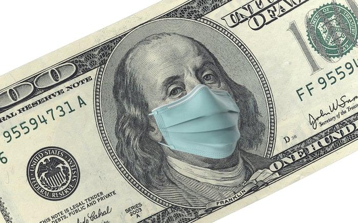 Hundred-dollar bill showing Benjamin Franklin wearing a mask