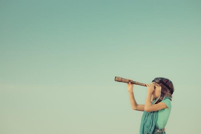 A girl with an aviator cap looks through a spyglass.