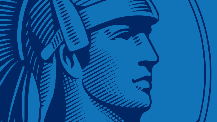 The American Express roman soldier icon in blue.