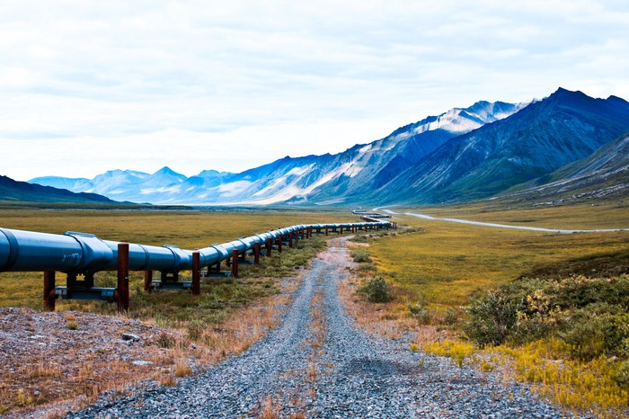 alaska oil pipeline with mountains in the background