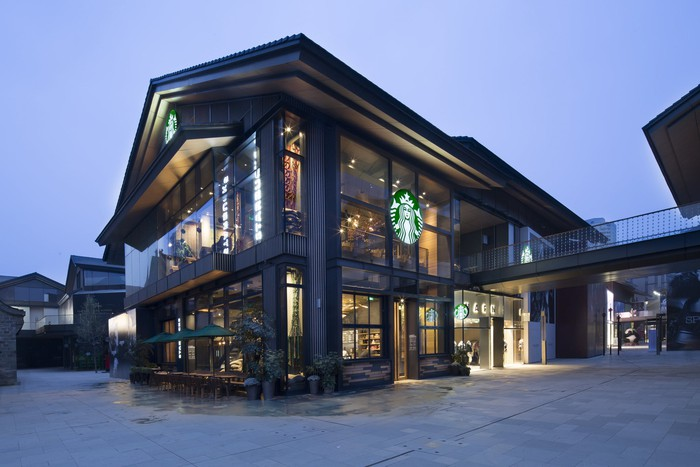 The exterior of a flagship Starbucks location in China.