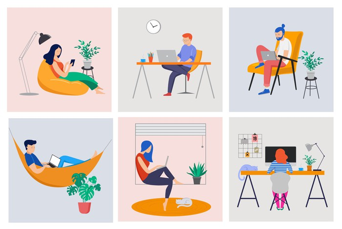 Cartoons of people working in desks, chairs, in hammock, and in window