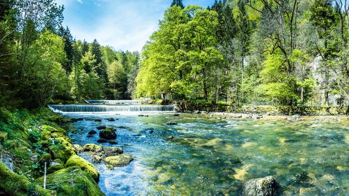 A river running through woods.