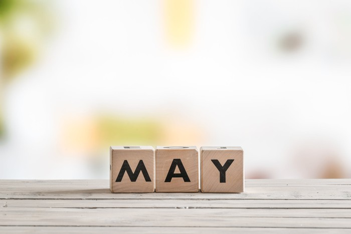 "Wooden blocks that spell ""May""."