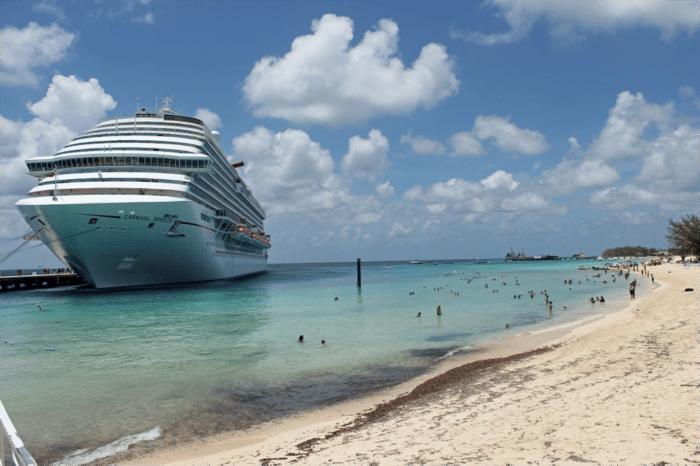 Carnival Breeze docked near the beach of Grand Turk.