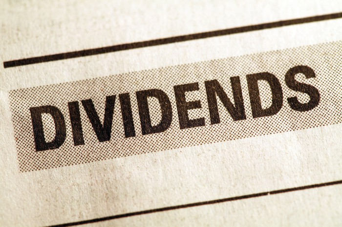 The word Dividends printed as a newspaper headline.